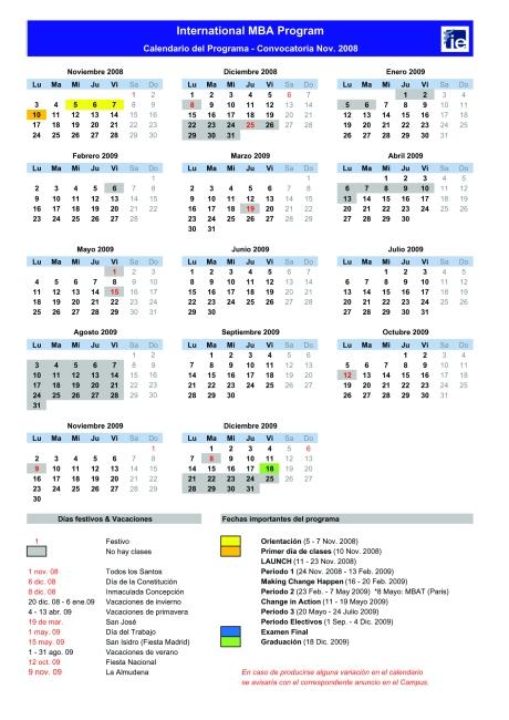 IE IMBA 2009 Calendar